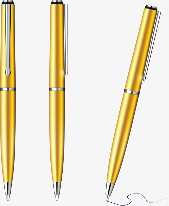 矢量手绘金色钢笔
