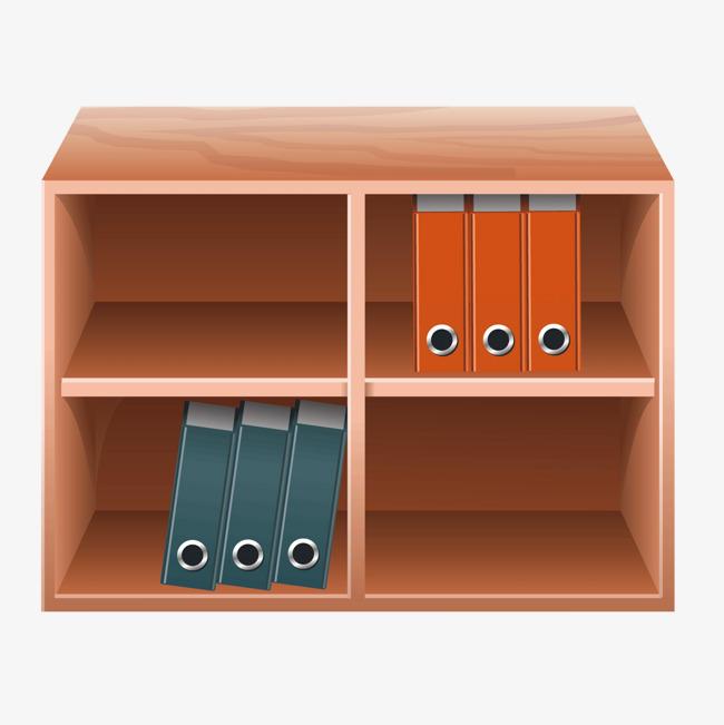 矢量卡通木质书柜办公柜子图片