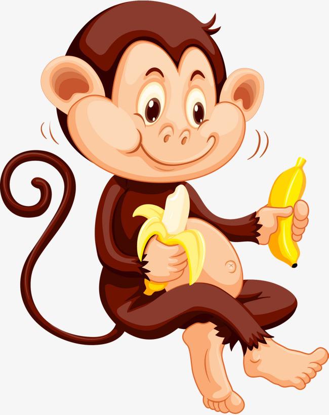 可爱卡通猴子吃香蕉立体矢量