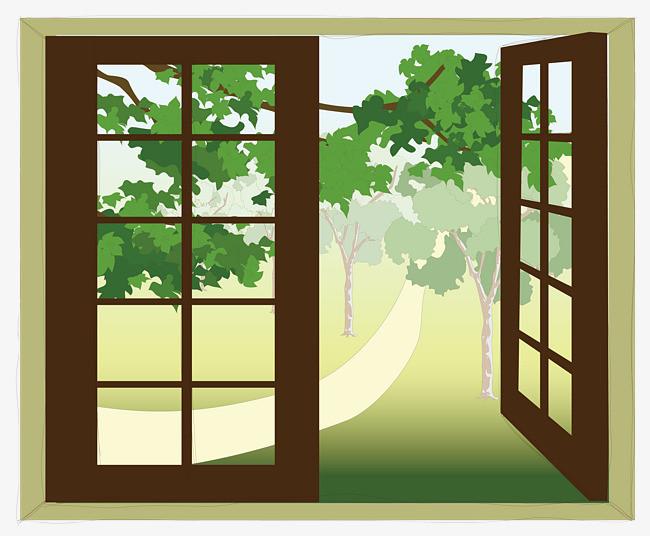 窗戶 風景 樹木 打開             此素材是90設計網官方設計出品,均