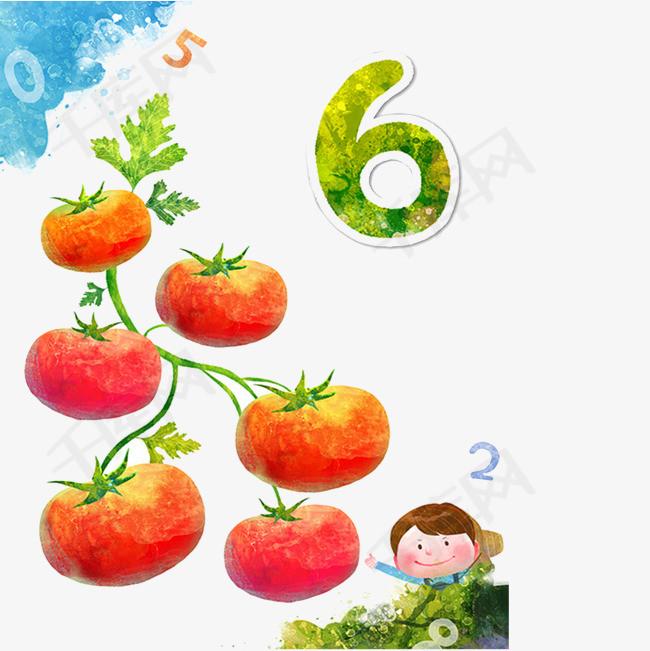 卡通彩绘番茄儿童素材