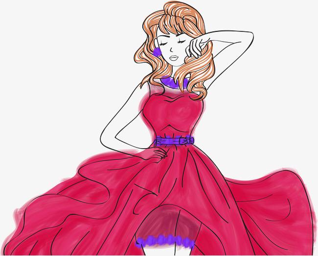 矢量手绘公主裙美女