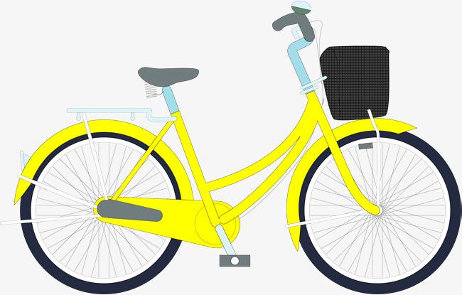 矢量手绘黄色自行车