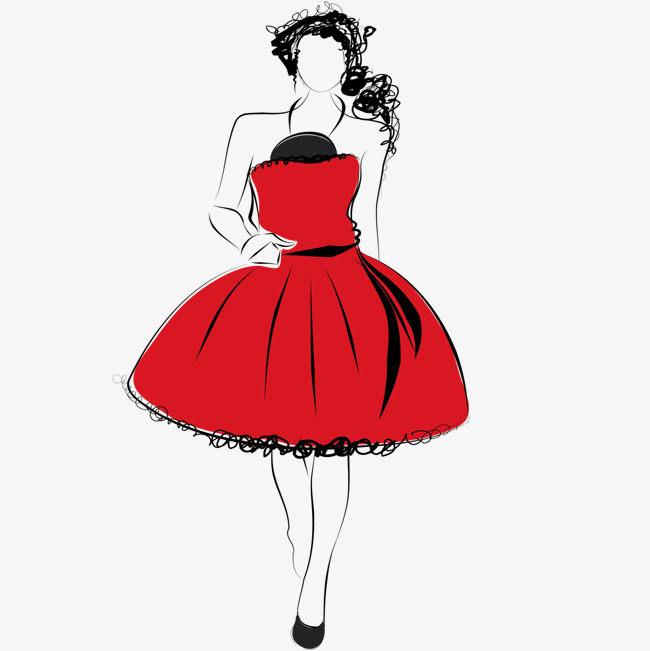 矢量手绘红色礼服素材png素材-90设计