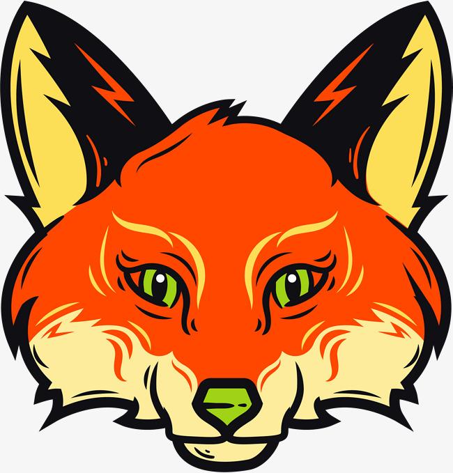 矢量手绘狐狸头