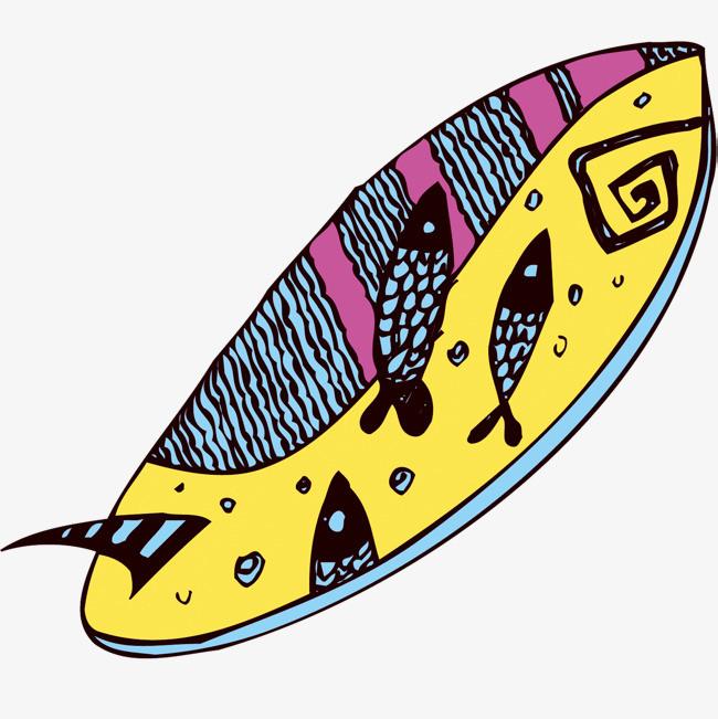 矢量手绘冲浪板装饰素材
