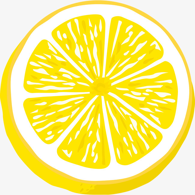 手绘柠檬片矢量图png素材-90设计