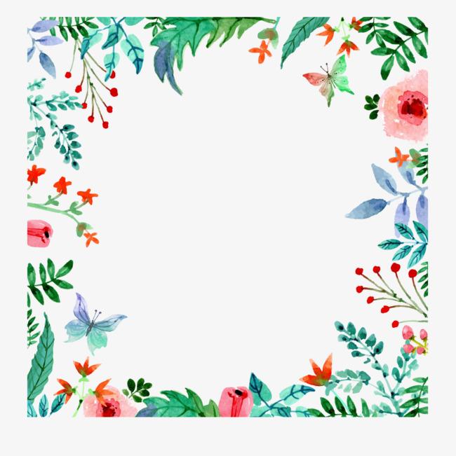 水彩花卉边框隽语