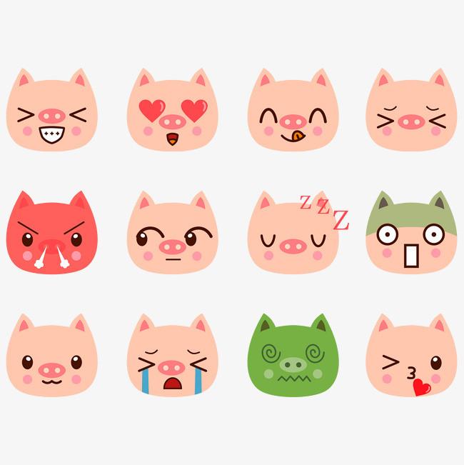 矢量手绘猪表情符号