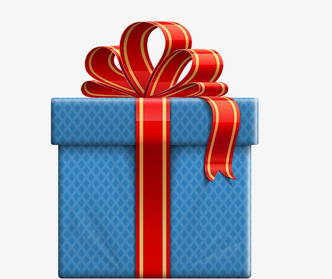 矢量蓝色礼盒惊喜礼物蝴蝶结