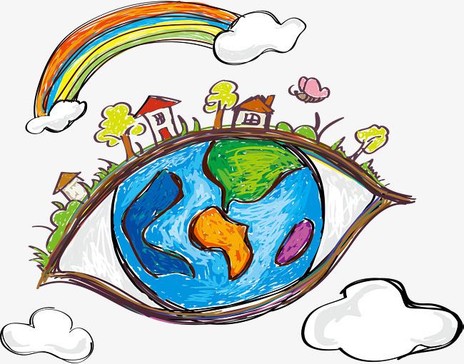 手绘眼中的地球png素材-90设计图片