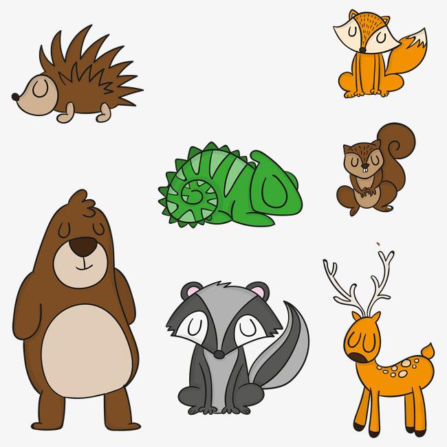 矢量手绘可爱的森林动物