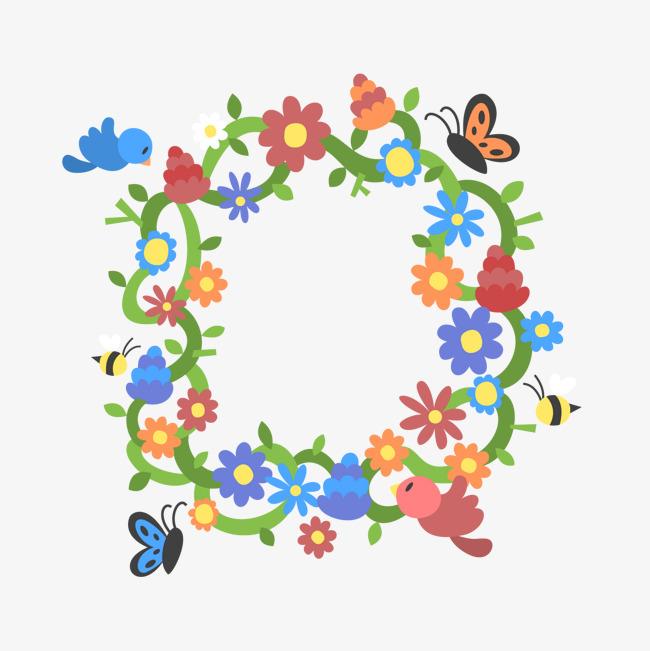 卡通花朵边框矢量素材