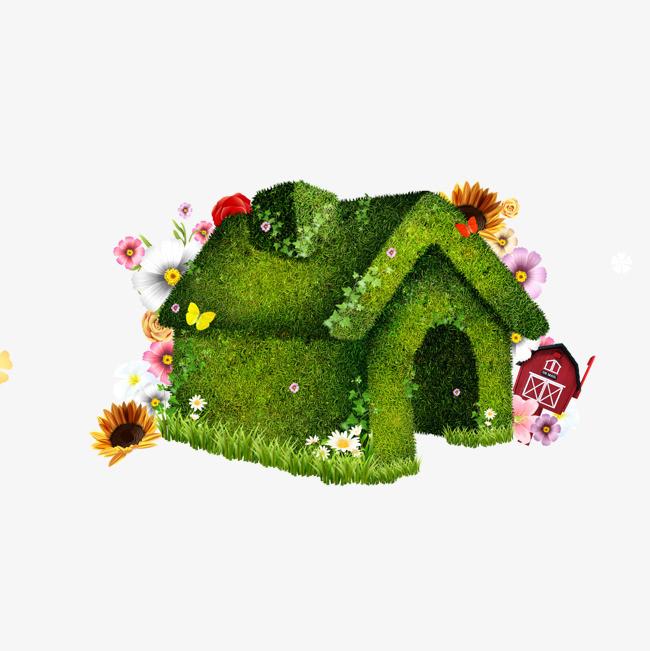 绿色植物小房子