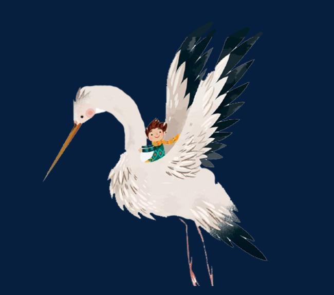 卡通飞翔白鹤图片