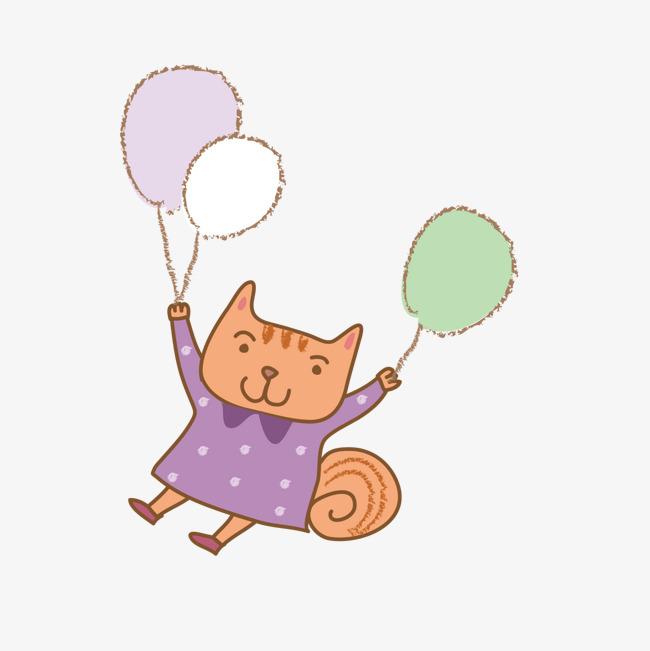 矢量卡通可爱小猫咪拿气球