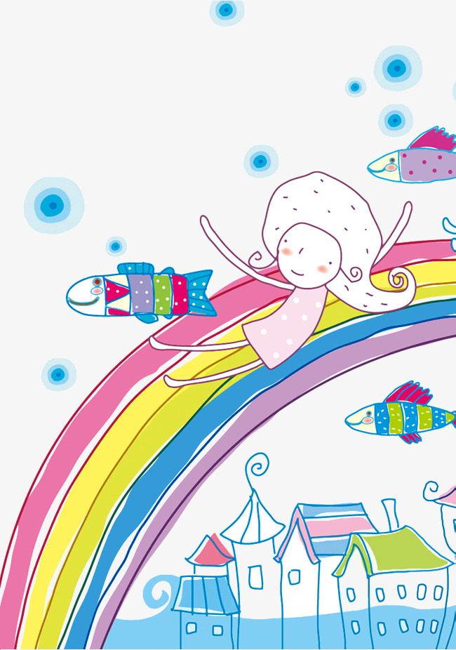 卡通手绘彩虹