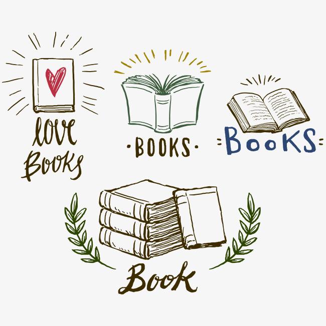矢量漂亮的手绘本标志漂亮手绘书本翻页教科书标志书翻页-矢量漂亮
