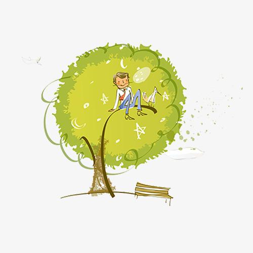 手绘人物树上图片