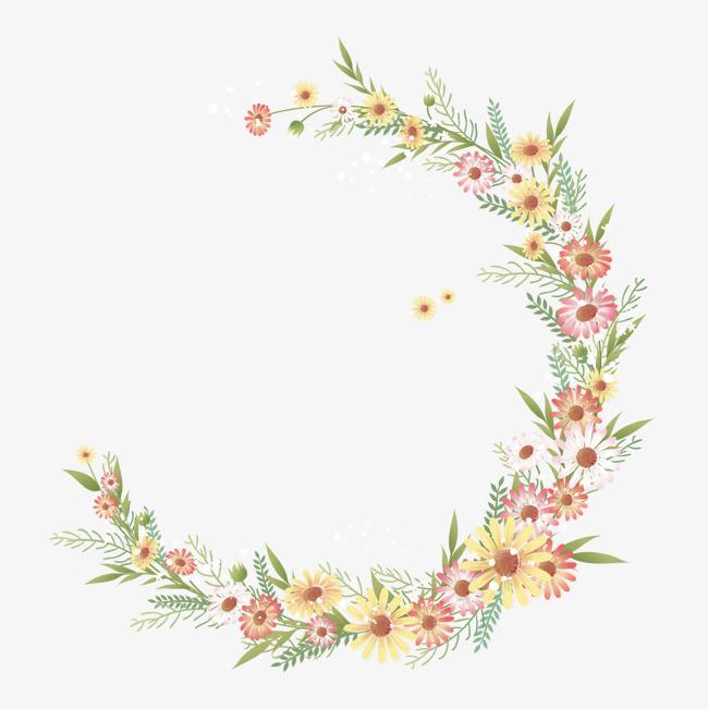 手绘花卉边框png素材-90设计图片