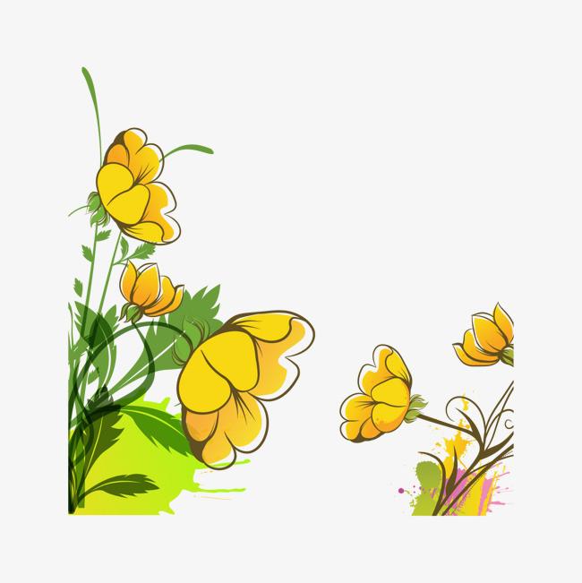卡通手绘黄色小花