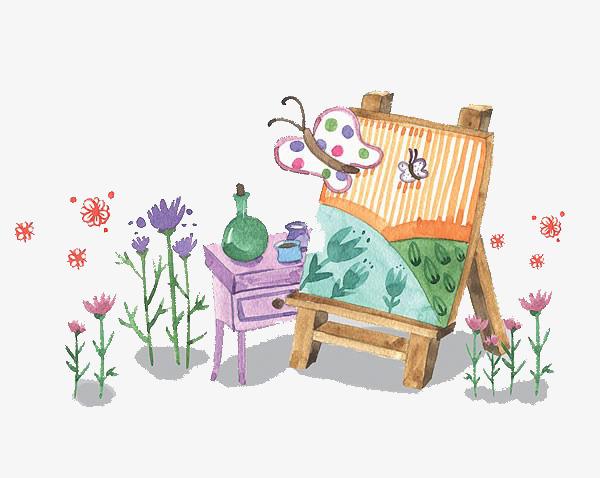 画板和花朵