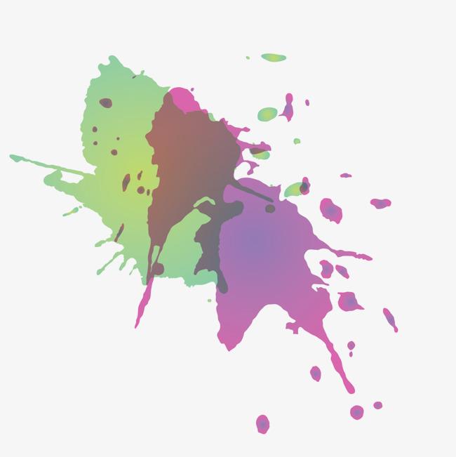 紫色唯美彩墨png素材-90设计