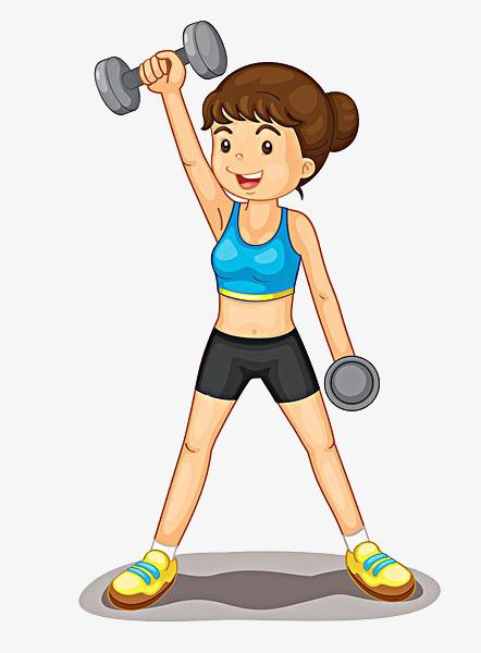 卡通女孩锻炼素材图片
