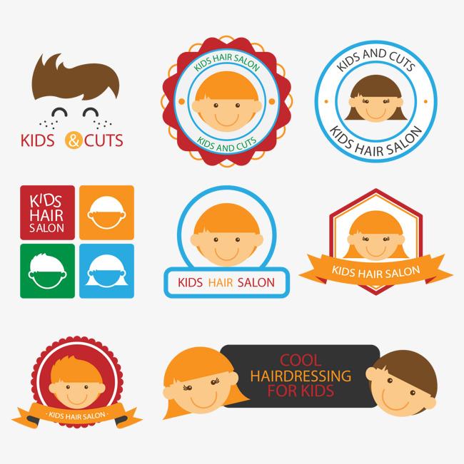儿童理发店标签矢量素材