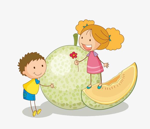 卡通水果男孩女孩图片
