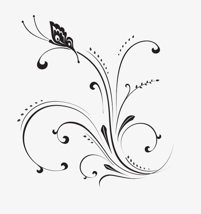 欧式优美黑白花藤蝴蝶