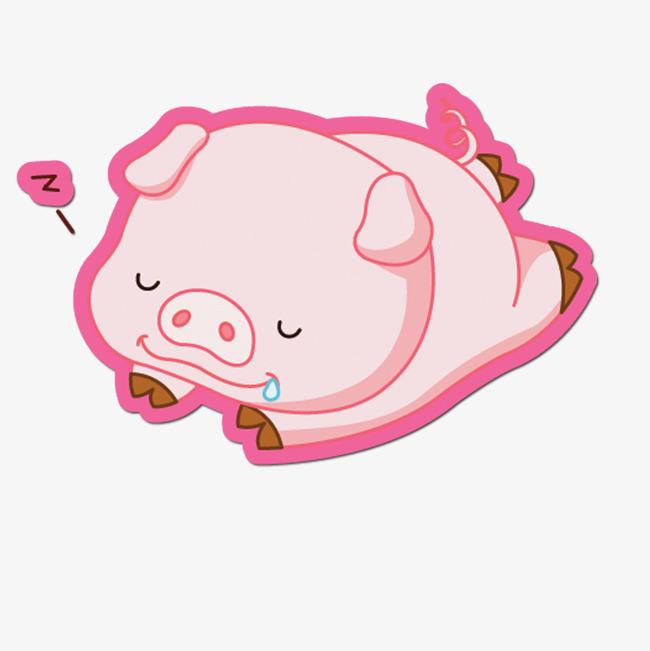 手绘彩色小猪