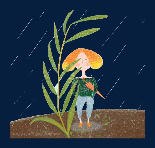 卡通淋雨女孩图片