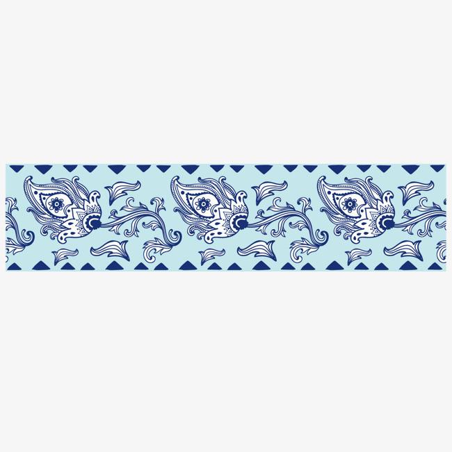 蓝色线条花朵矢量苗族花纹