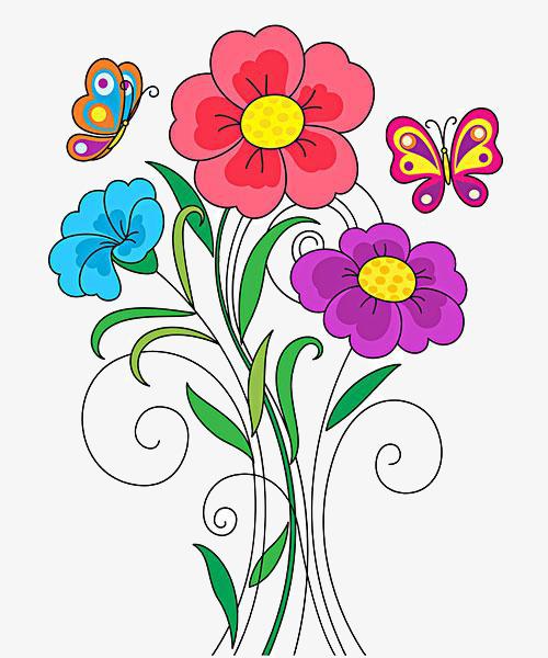 卡通蝴蝶花朵图片