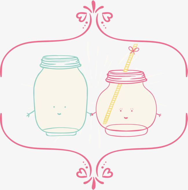 手绘文艺情侣杯子