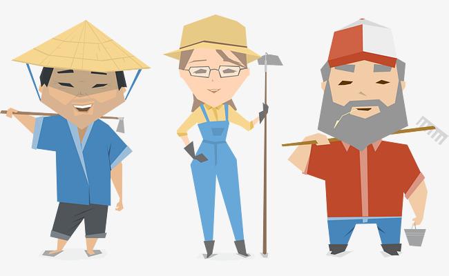 卡通二维农民农场工作人员矢量图图片