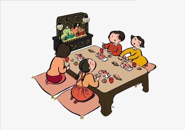 卡通人物吃饭图片