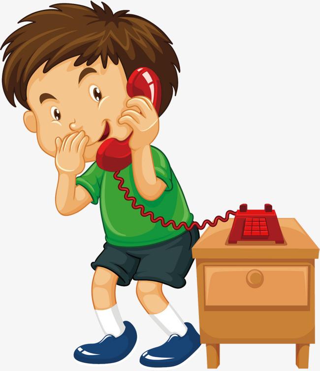 矢量打电话的小男孩图片
