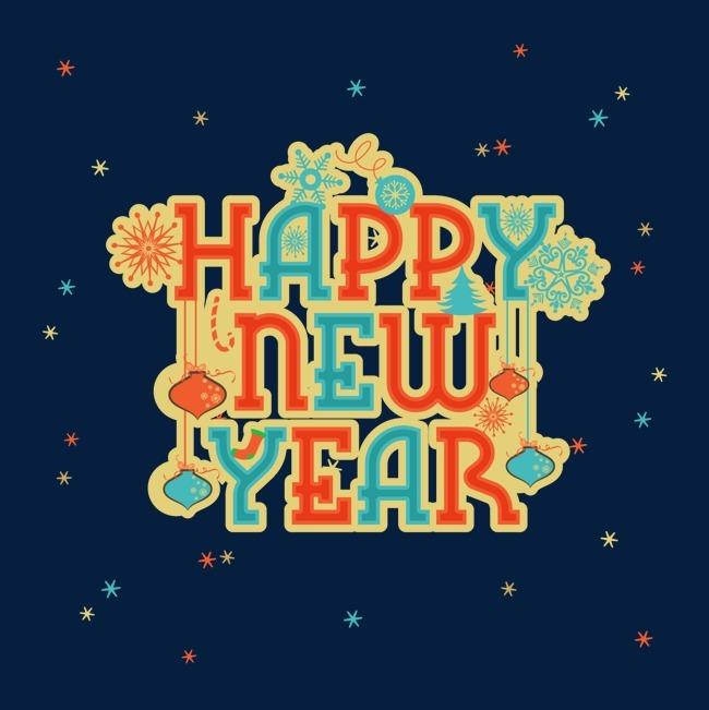 卡通创意新年快乐英文