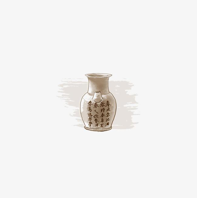 刻字陶罐手绘图
