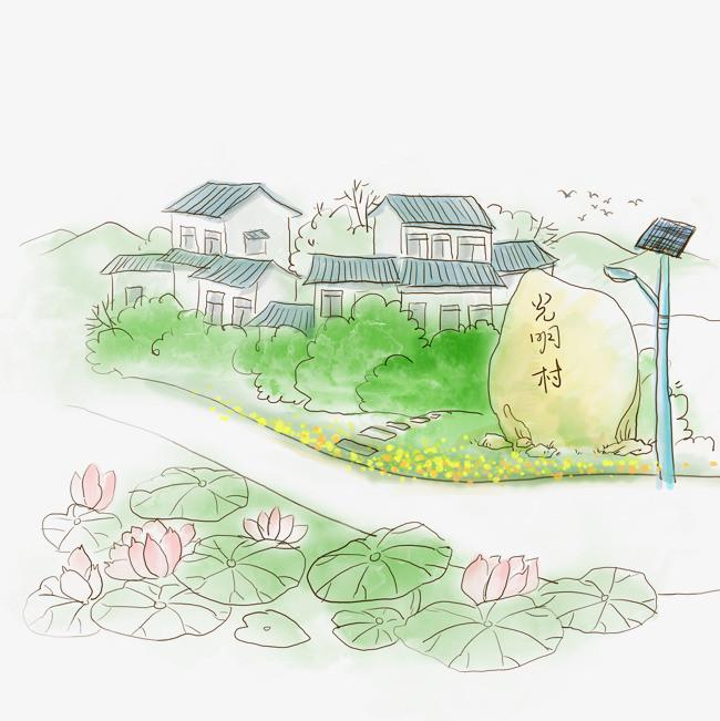 江南水乡城镇手绘图【高清png素材】-90设计