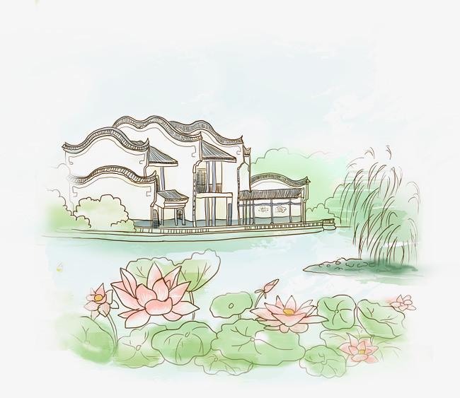 江南小镇荷花池塘手绘图