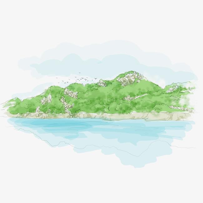 手绘树林山川河水图