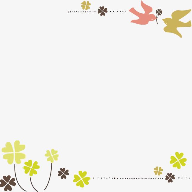 矢量燕子四叶草日式边框图片