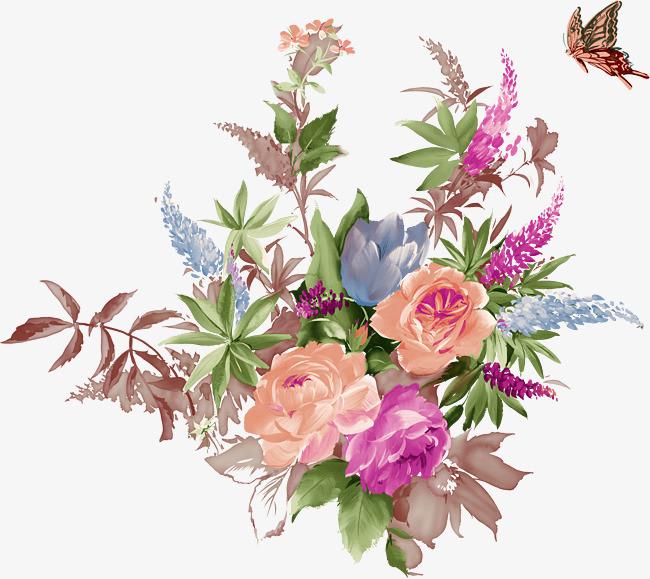 手绘水彩花丛