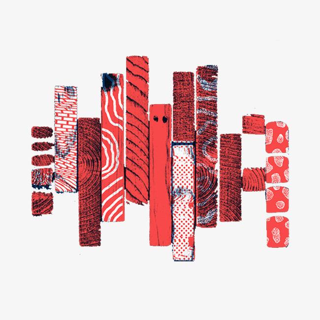 条形红色条纹元素png素材-90设计