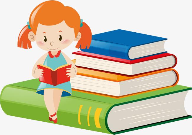 矢量手绘看书的女孩