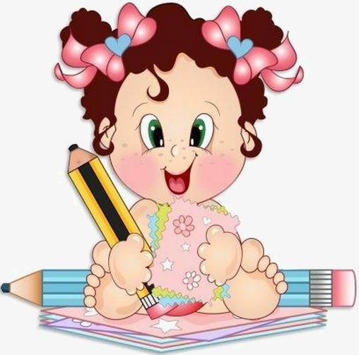 卡通手拿铅笔小女孩