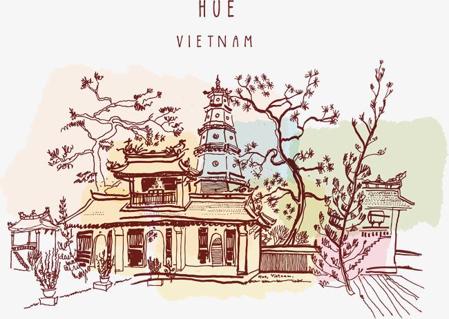 手绘越南风景